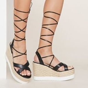 Forever 21 Shoes - F21 Lace up espadrille platform wedge Sandals f656d9c81a58